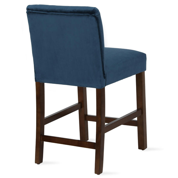 Zoya Channel Back Upholstered Counter Stool - Blue - N/A