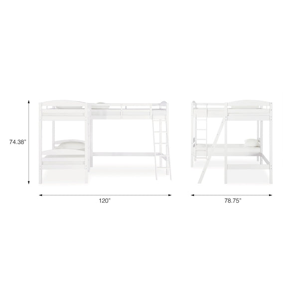 Clearwater Triple Bunk Bed - White - N/A