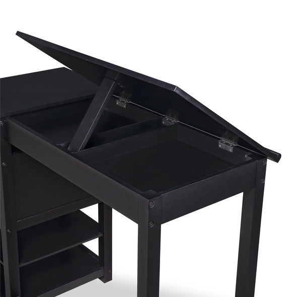 Drafting and Craft Counter Height Desk with Storage - Black - N/A