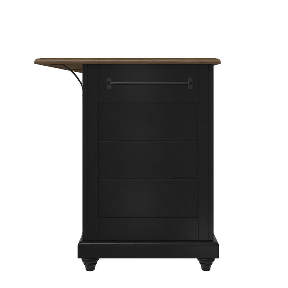 Kelsey Kitchen Island with 2 Stools - Black - N/A