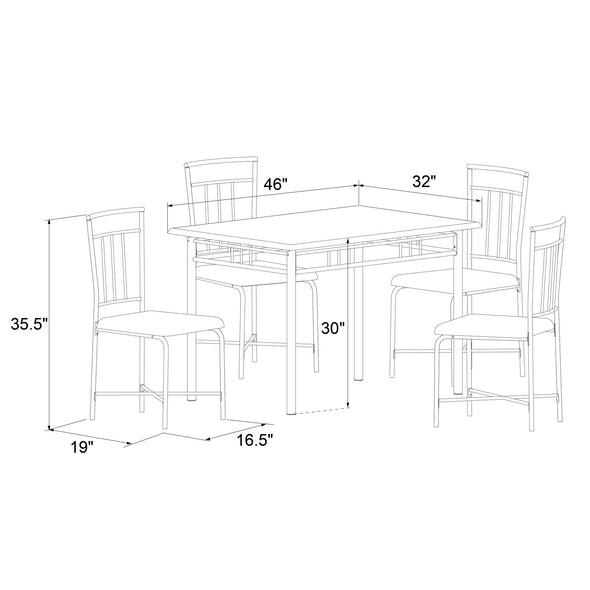 Roosevelt 5-Piece Wood & Metal Dining Set - Deep Walnut - N/A