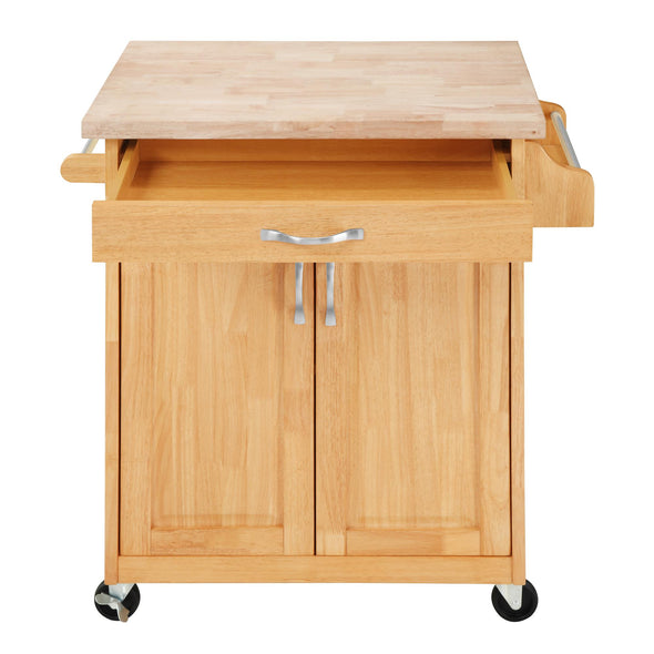 Kitchen Island Cart with Drawer & Storage Shelves - Natural - N/A