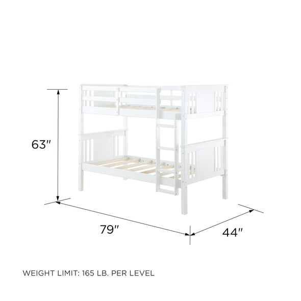 Dylan Bunk Bed with Ladder - White - N/A