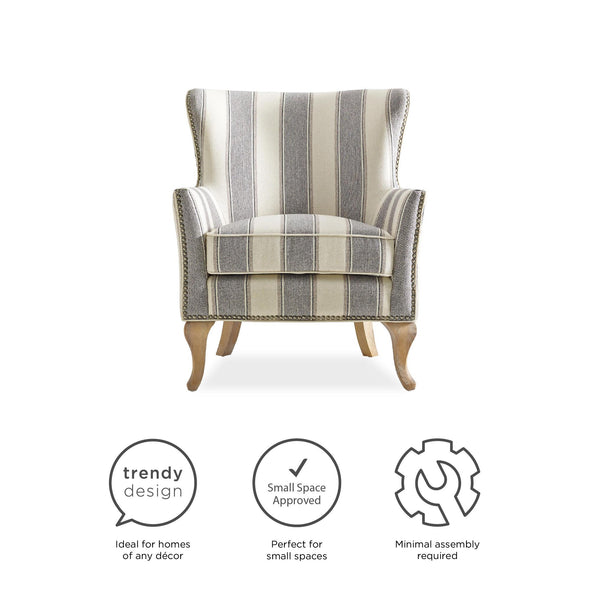 Reva Accent Chair - Gray Stripe - N/A