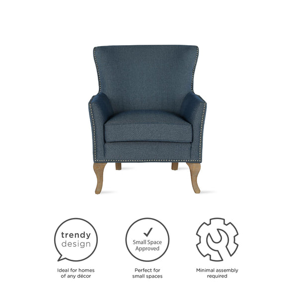 Reva Accent Chair - Blue - N/A