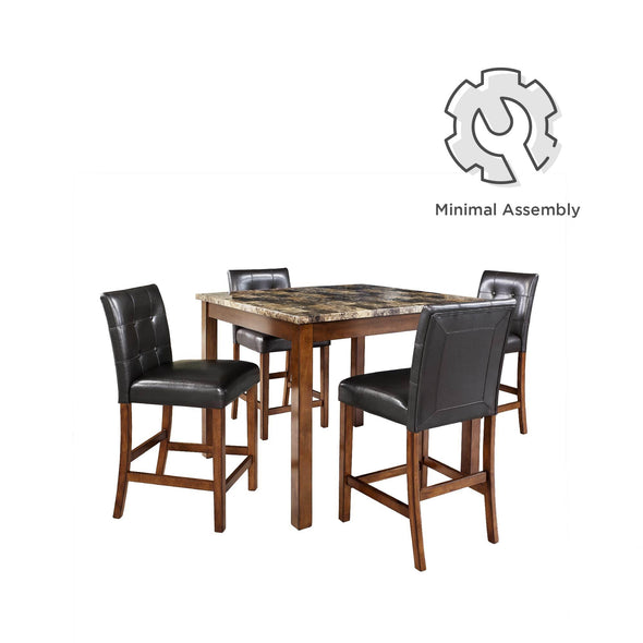 Andover Faux Marble Counter Height Black Dining Set - Cherry - N/A