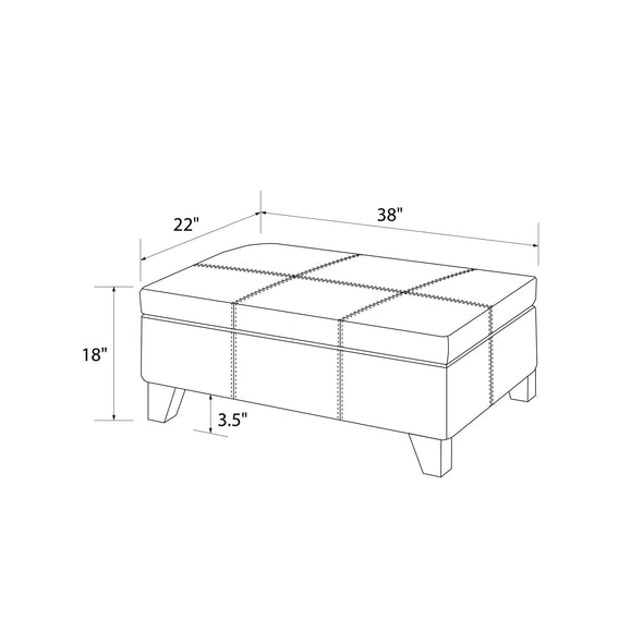 Rectangular Upholstered Storage Ottoman - Black - N/A