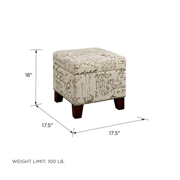 Blake Cube Ottoman with Storage Space - Beige - N/A
