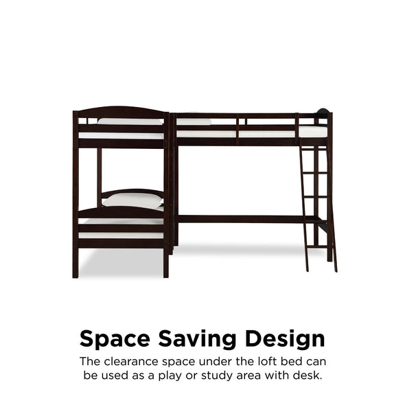 Clearwater Triple Bunk Bed - Espresso - N/A