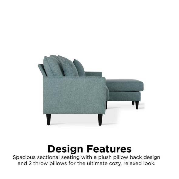 Forbin Reversible Sectional Sofa Couch with Pillows - Teal - N/A