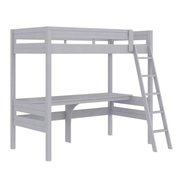 Harlan Loft Bed with Desk and Ladder - Gray - N/A