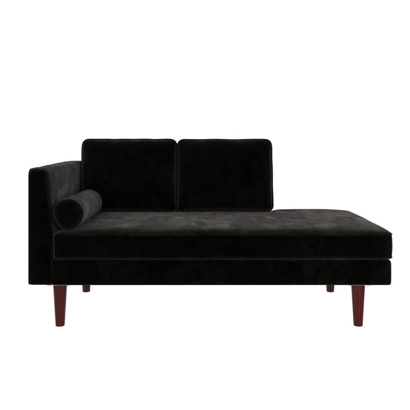 Nola Mid Century Modern Upholstered Daybed/Chaise - Black - N/A