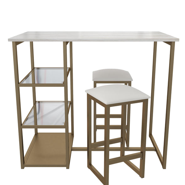 Tanner 3-Piece Brass Pub Set with Faux Marble Top - White - N/A