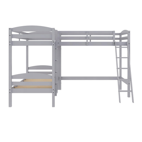 Clearwater Triple Bunk Bed - Gray - N/A