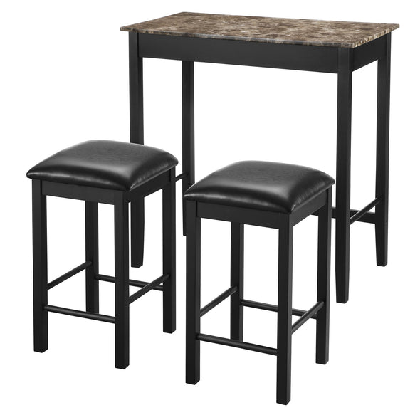 Devyn 3-Piece Faux Marble Pub Dining Set - Black - N/A