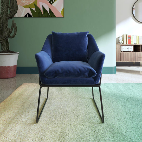 Avery Accent Chair - Blue Velvet - N/A