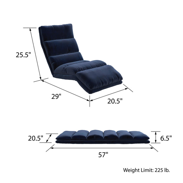 Beverly Wave Adjustable Memory Foam Lounger - Blue - N/A