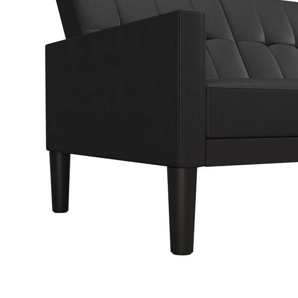 Haven Small Space Sectional Sofa Futon - Black Faux Leather - N/A