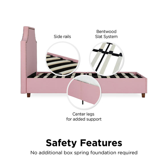 Melita Upholstered Bed - Pink - Twin
