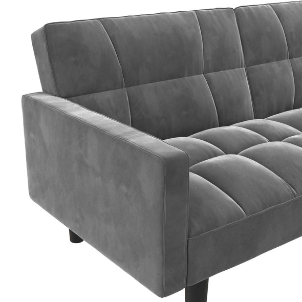 Harper Convertible Sofa Sleeper Futon with Arms - Gray - N/A