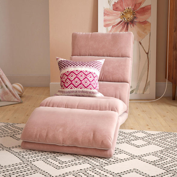 Beverly Wave Adjustable Memory Foam Lounger - Pink - N/A