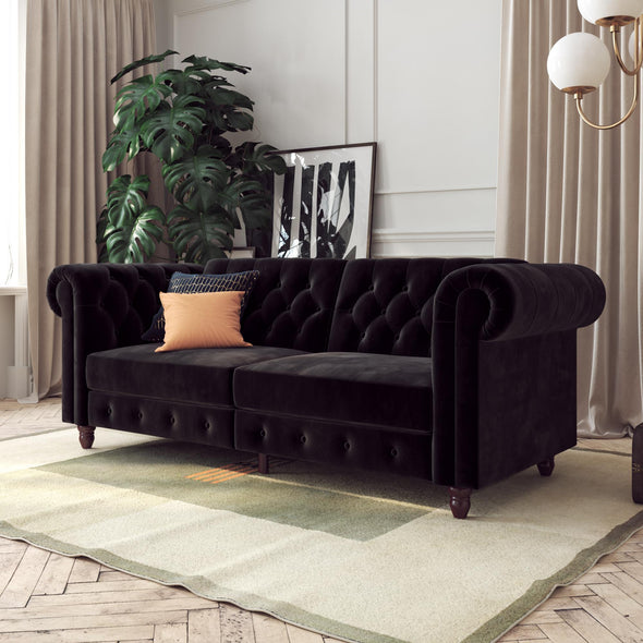 Felix Chesterfield Sofa Futon - Black - N/A