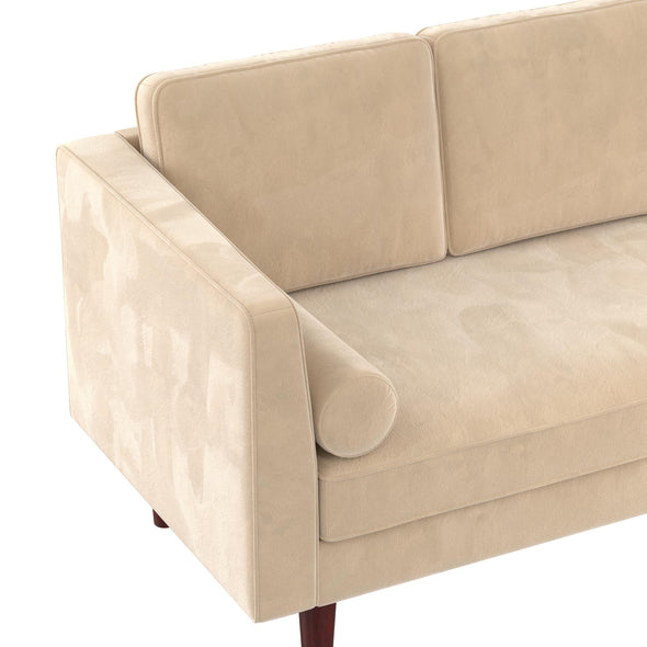 Nola Mid Century Modern Upholstered Daybed/Chaise - Ivory - N/A