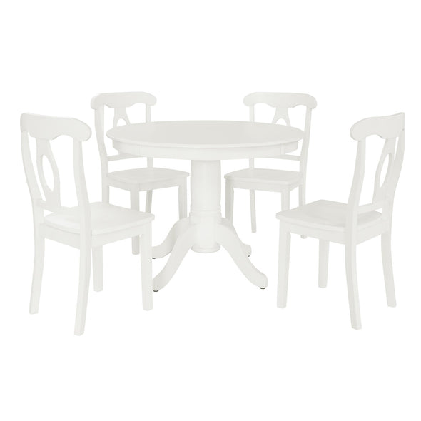 Aubrey 5-Piece Traditional Pedestal Dining Set - White - N/A