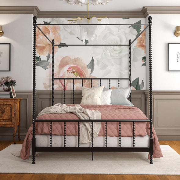 Jenny Lind Metal Canopy Bed - Black - Full