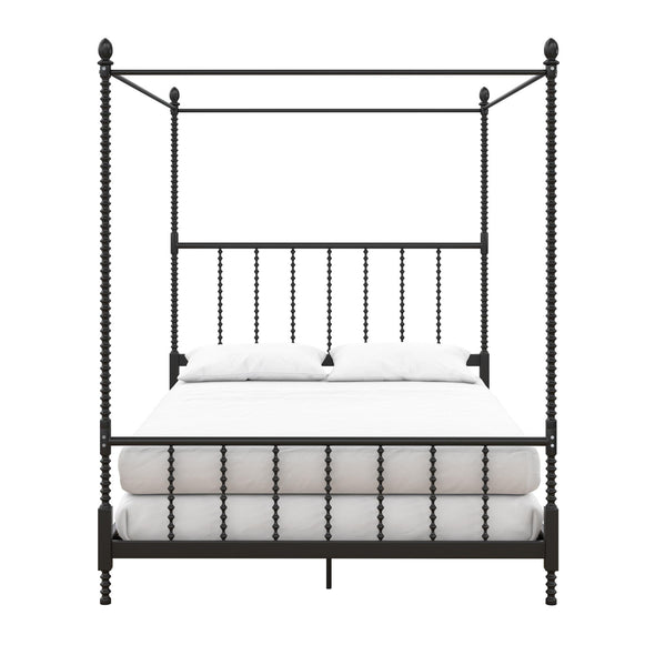 Jenny Lind Metal Canopy Bed - Black - Queen