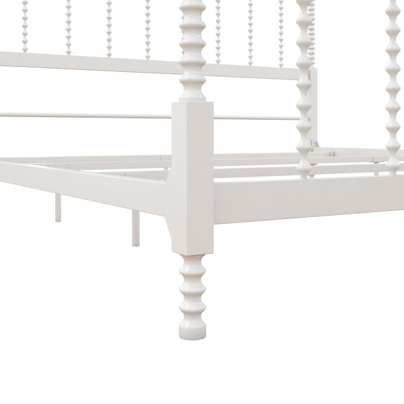Jenny Lind Metal Canopy Bed - White - King