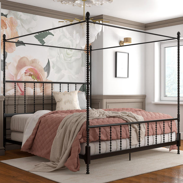 Jenny Lind Metal Canopy Bed - Black - King