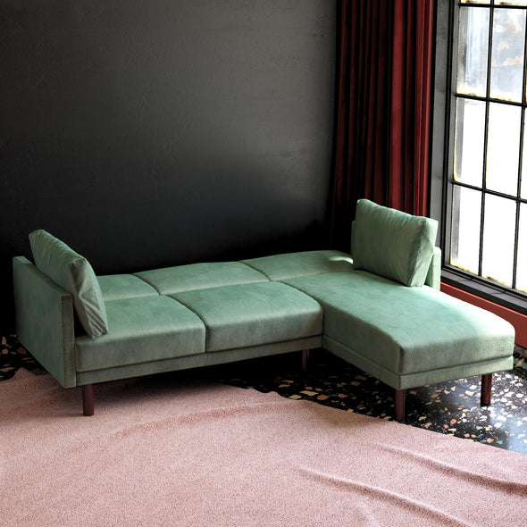 Clair Coil Sectional Futon - Teal - N/A