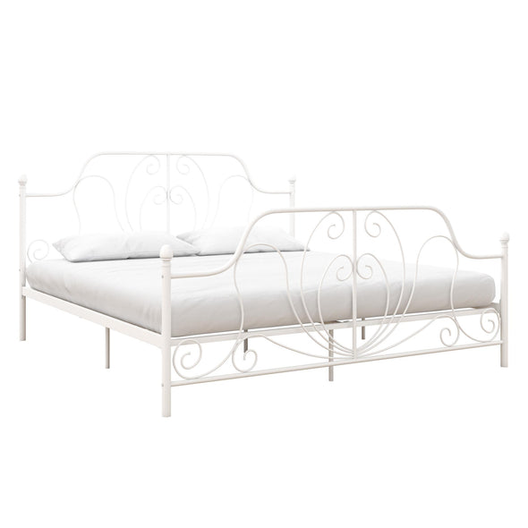 Ivorie Metal Bed - White - King
