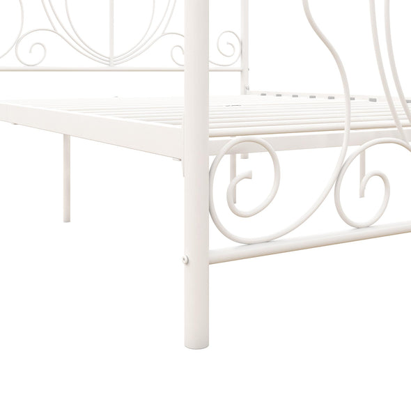 Ivorie Metal Bed - White - Queen