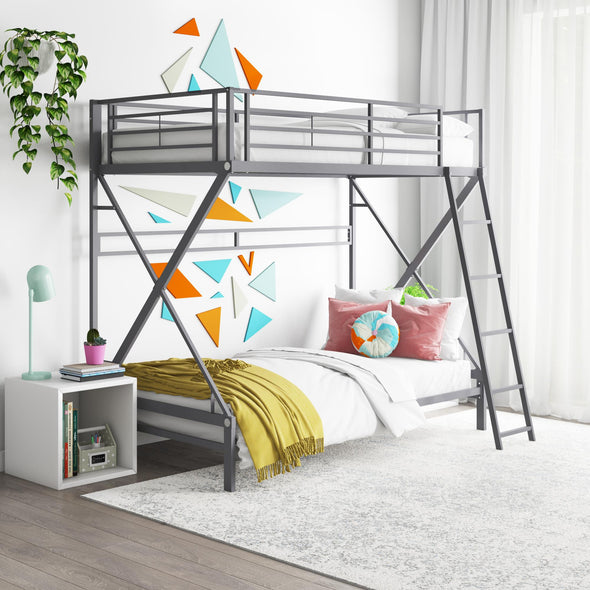 X Twin Over Twin Metal Bunk Bed - Silver - Twin-Over-Twin