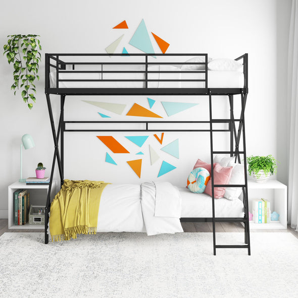 X Twin Over Twin Metal Bunk Bed - Black - Twin-Over-Twin