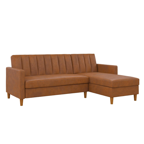 Celine Futon Sectional with Storage - Camel - N/A