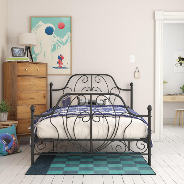 Ivorie Metal Bed - Black - Queen