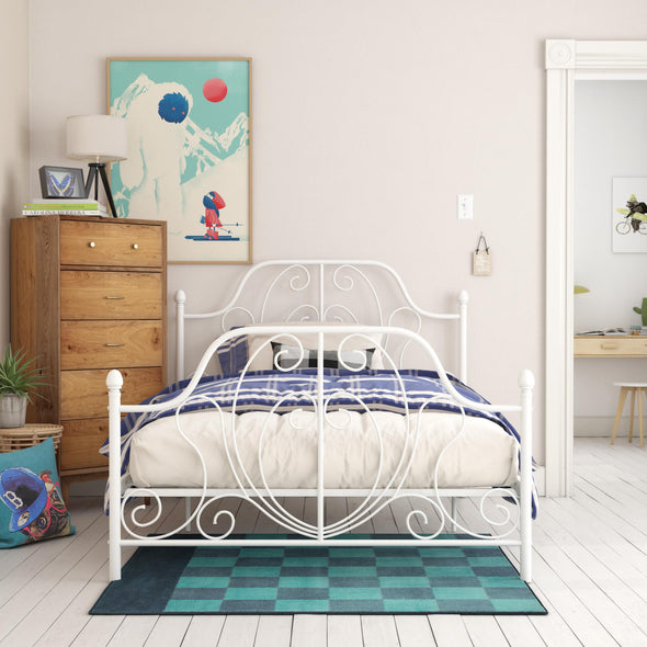 Ivorie Metal Bed - White - Full