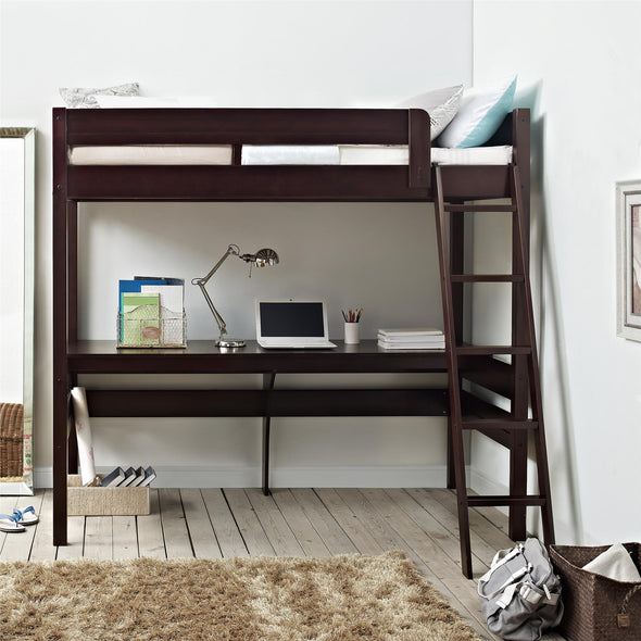 Harlan Loft Bed with Desk and Ladder - Espresso - N/A