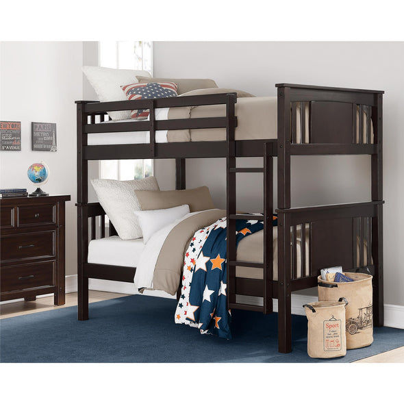 Dylan Bunk Bed with Ladder - Espresso - N/A