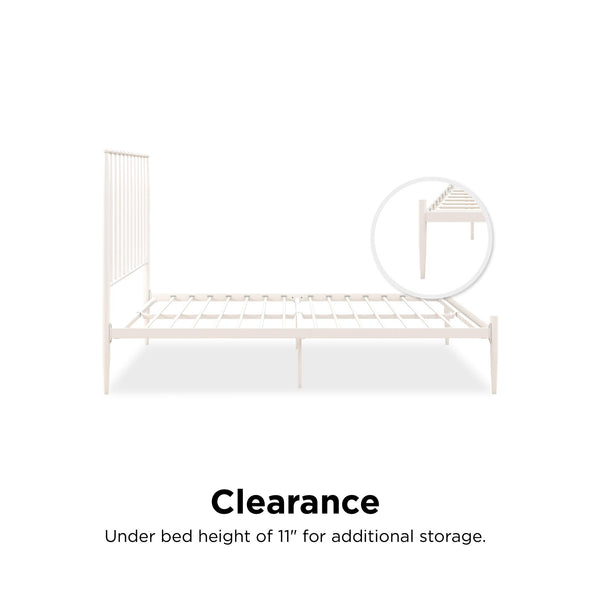 Giulia Modern Metal Bed - White - Queen