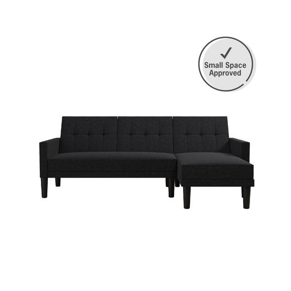 Haven Small Space Sectional Sofa Futon - Dark Gray - N/A