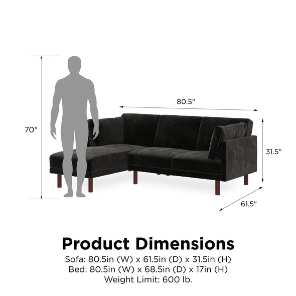 Clair Coil Sectional Futon - Black - N/A