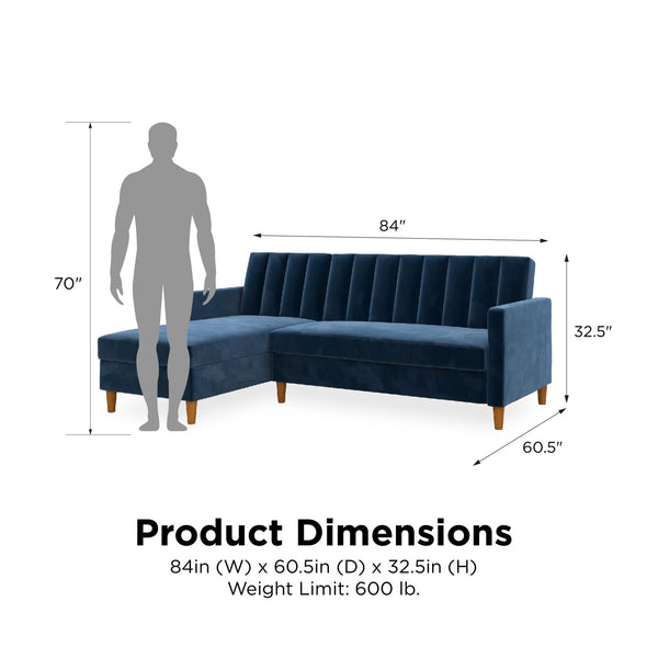 Celine Futon Sectional with Storage - Navy - N/A