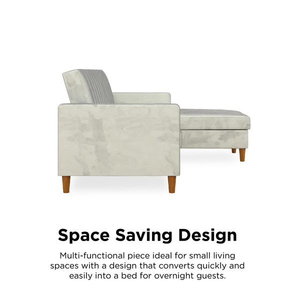 Celine Futon Sectional with Storage - Light Gray - N/A