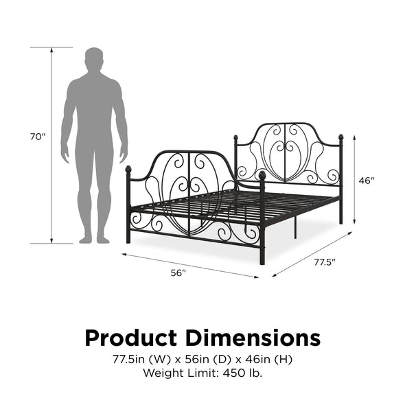 Ivorie Metal Bed - Black - Full