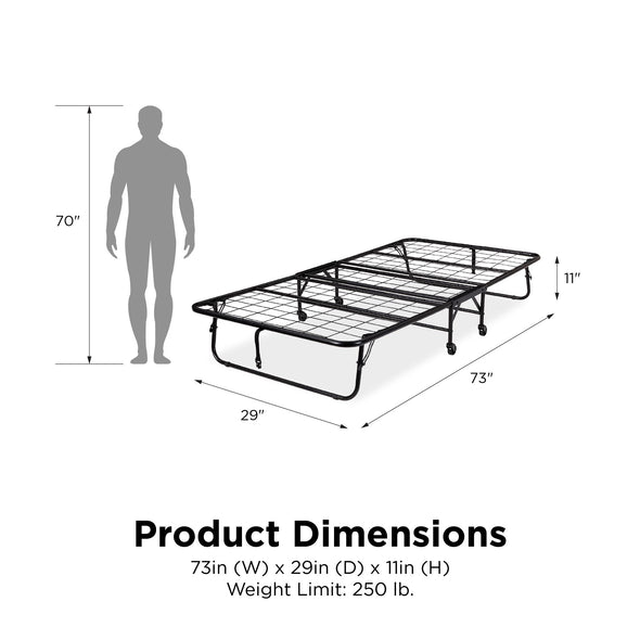 "Folding Metal Guest Bed with 5"" Mattress - Black - Twin"