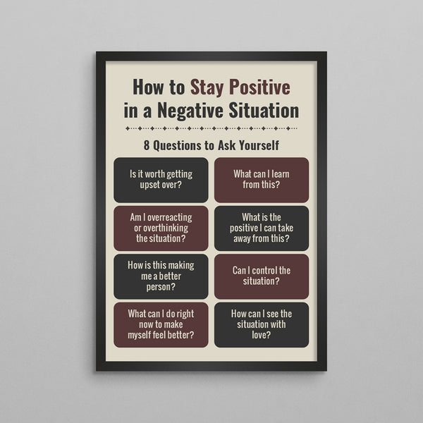 How To Stay Positive In a Negative Situation Poster - 2 Styles